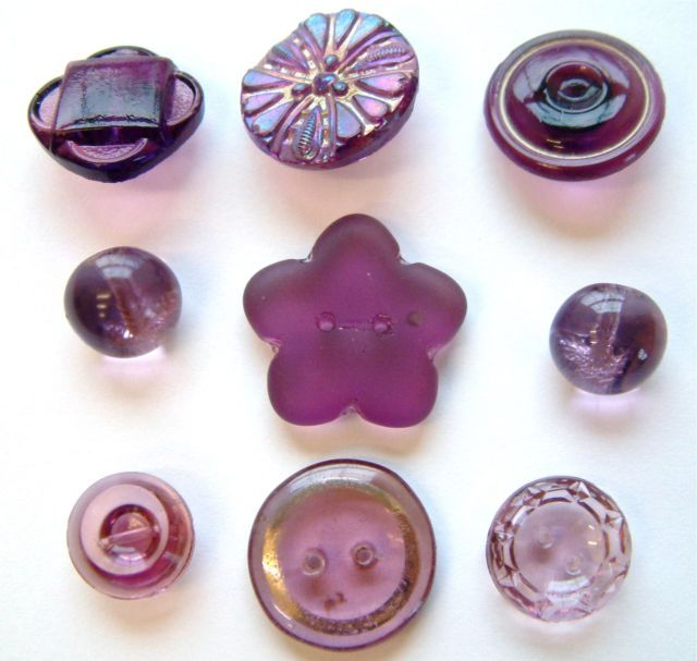 9 Vintage & Antique Frosted & Transparent Purple Glass Buttons | eBay