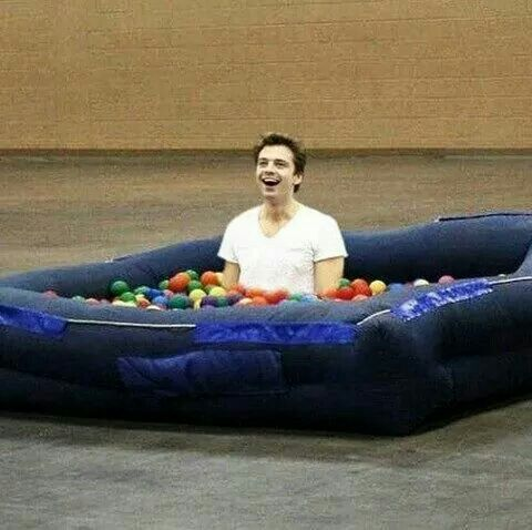 in case you 39 re having too much bucky feels here 39 s sebastian stan in a ball pool avengers. Black Bedroom Furniture Sets. Home Design Ideas