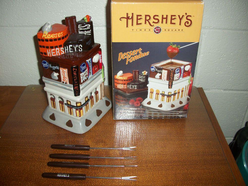 HERSHEY CHOCOLATE DESSERT FONDUE SET TIMES SQUARE STORE REPLICA CANDY DISH POT #Hersheys