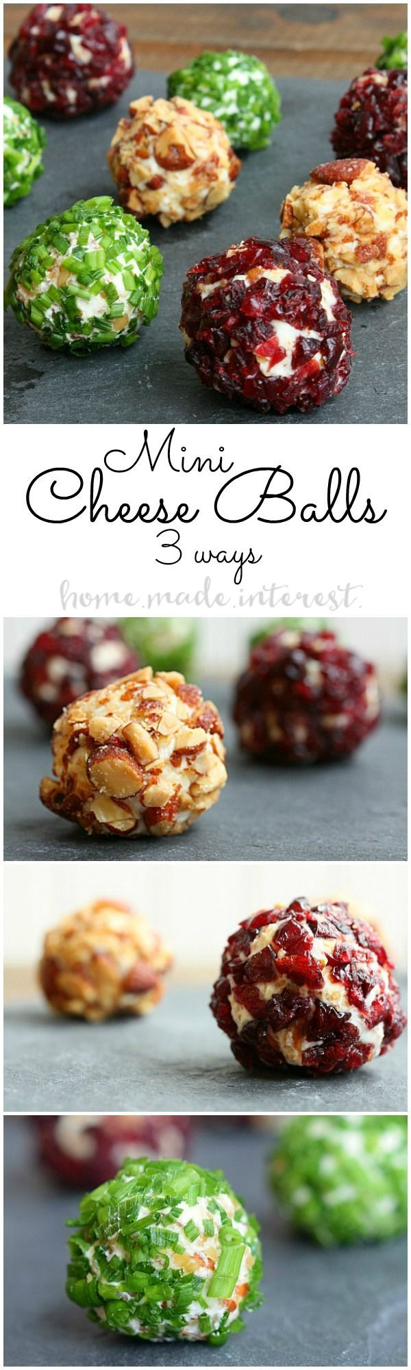 These mini cheese balls are an easy appetizer recipe that everyone will love. We have three simple cheese ball recipes with cranberries, almonds, and chives. #ad