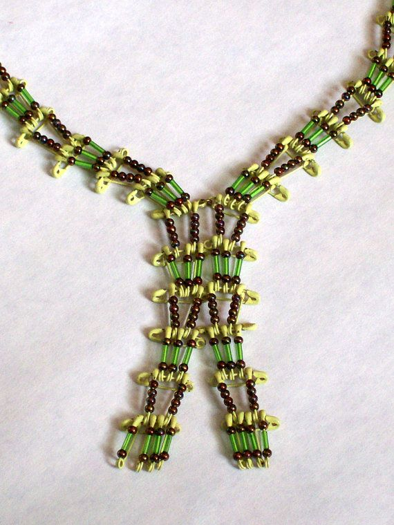 Vintage Safety Pin and Bead Necklace by handpickedbytammy on Etsy, $12.50