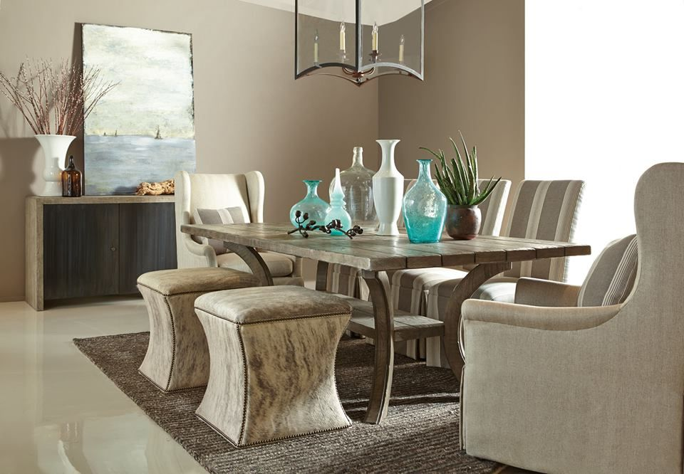 Substitute Casual Ottomans For Formal Chairs To Make Every Meal Feel Like It S At The Beach Like In This Beautiful Furniture Home Decor Ottoman In Living Room