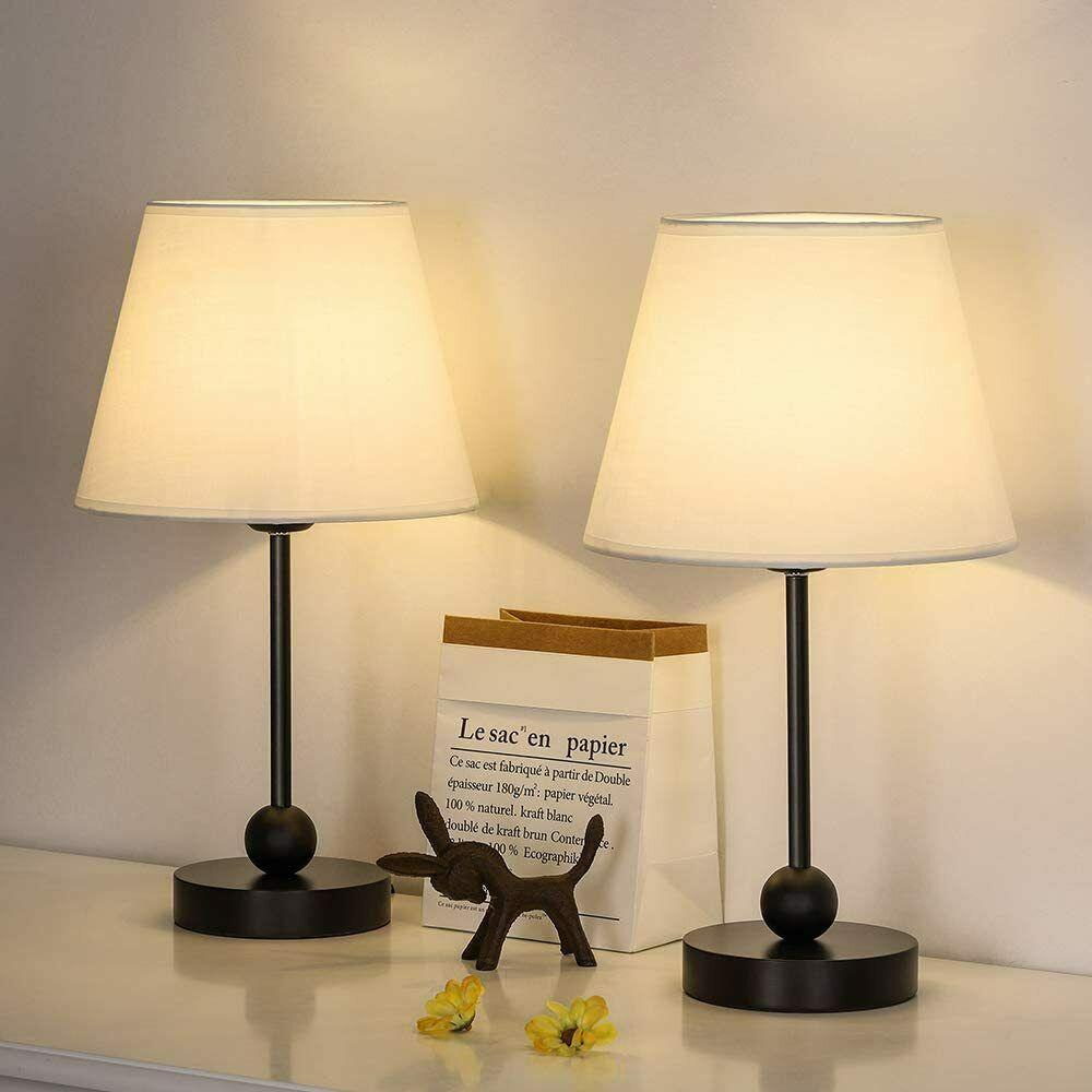 Set Of 2 Modern Nightstand Desk Lamp Table Beside Lamp Nightstand Light Bedroom Ebay In 2020 Lamp White Desk Lamps Table Lamp