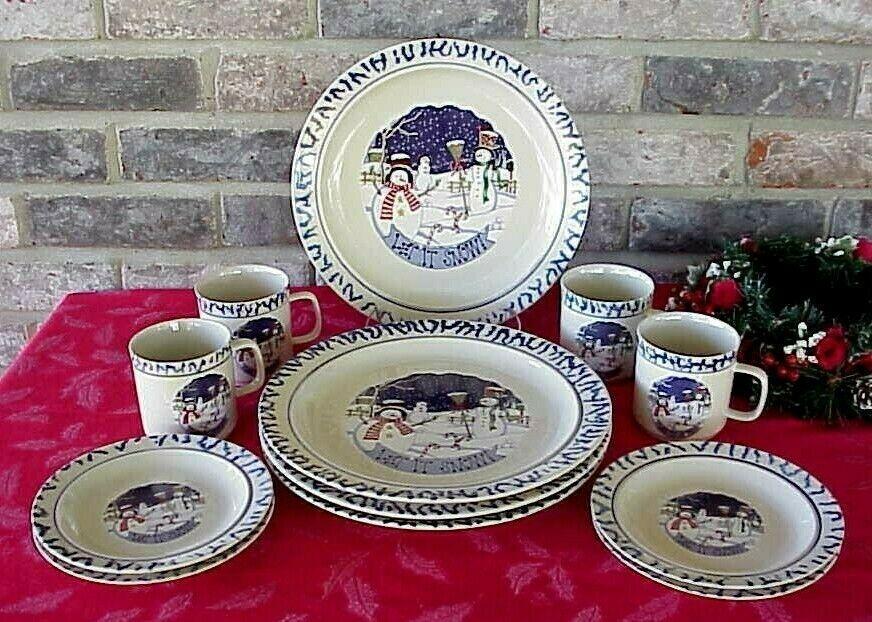 Vintage Snowman Christmas Dinnerware Let it Snow 12 Pcs Blue Border Stoneware  - Dinnerware - Ideas of Dinnerware #Dinnerware #casualdinnerware