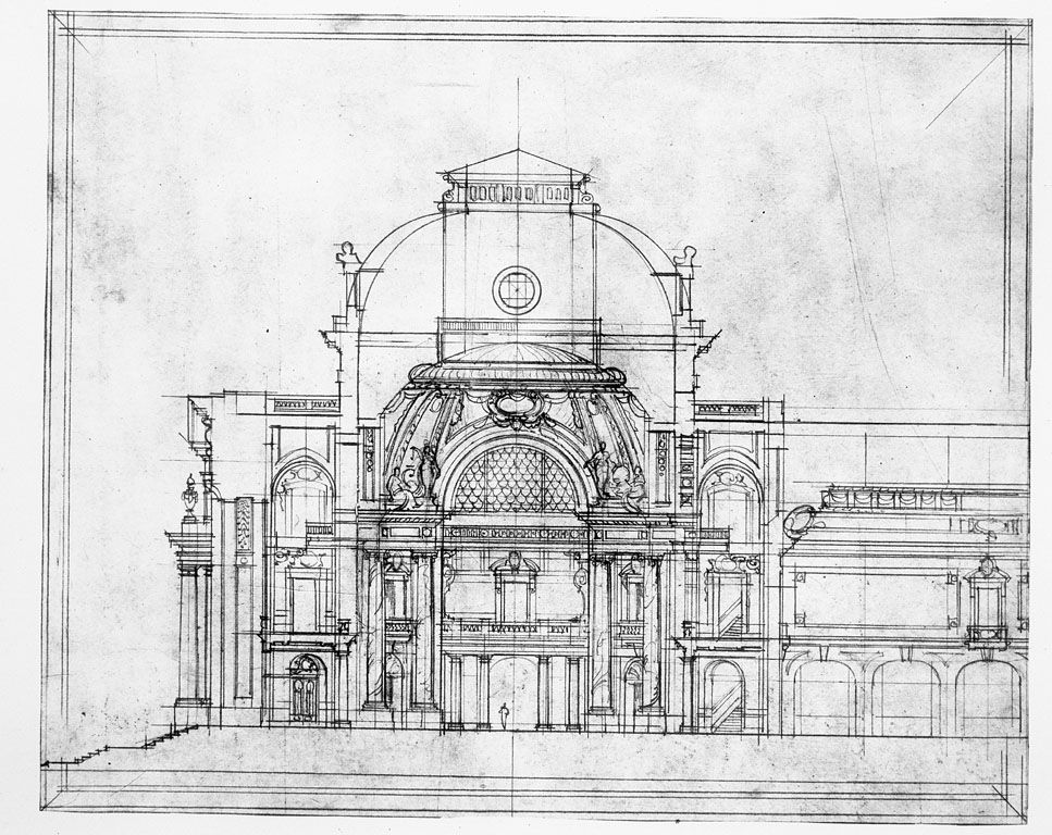 Preliminary Drawing Of The Entrance And The Rotunda Of The New