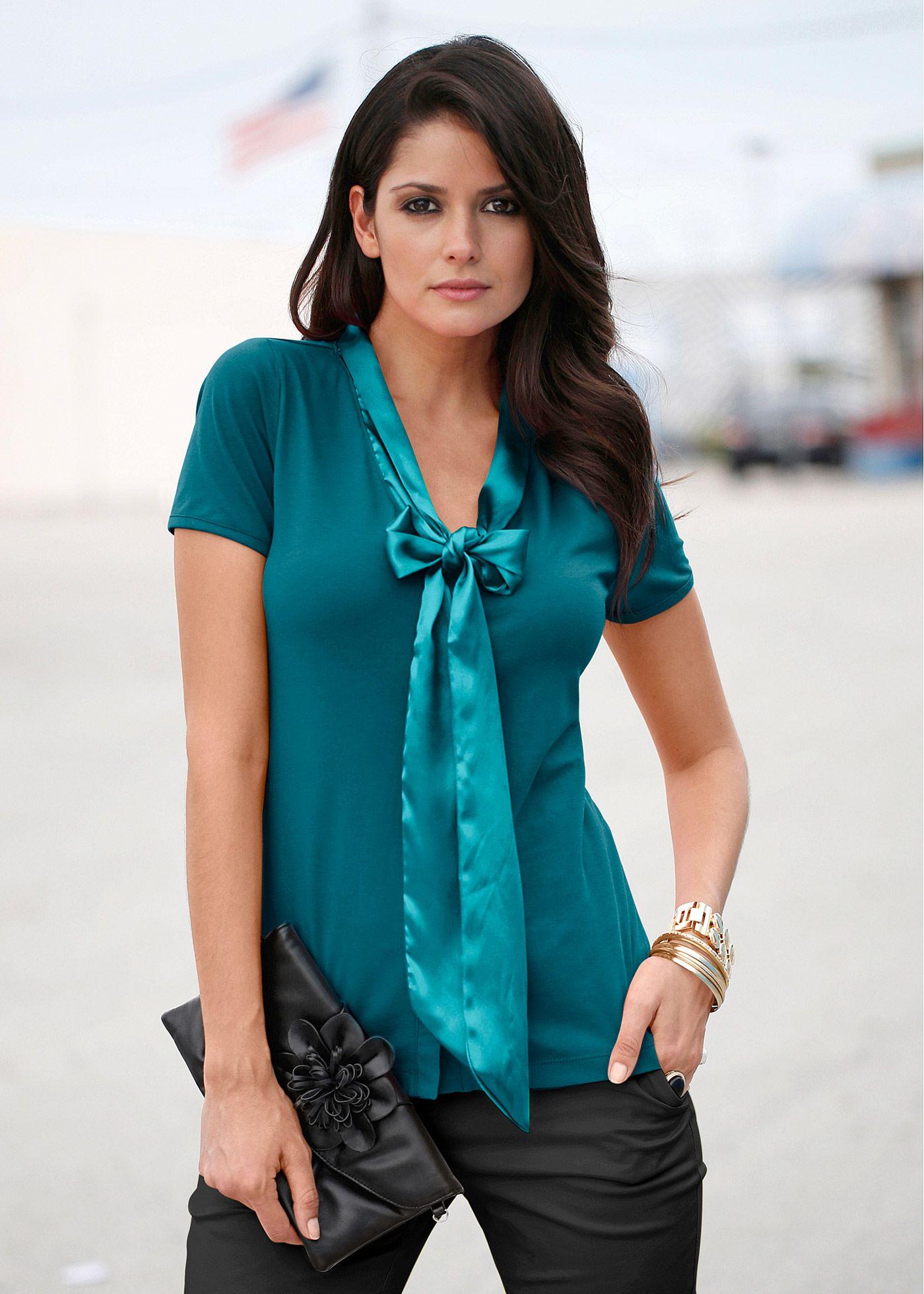 cb60b377b Blusa de malha esmeralda-escuro encomendar agora na loja on-line bonprix.de  R$ 39,90 a partir de Blusa de laço fashion, com fitas de cetim aplicadas  para .