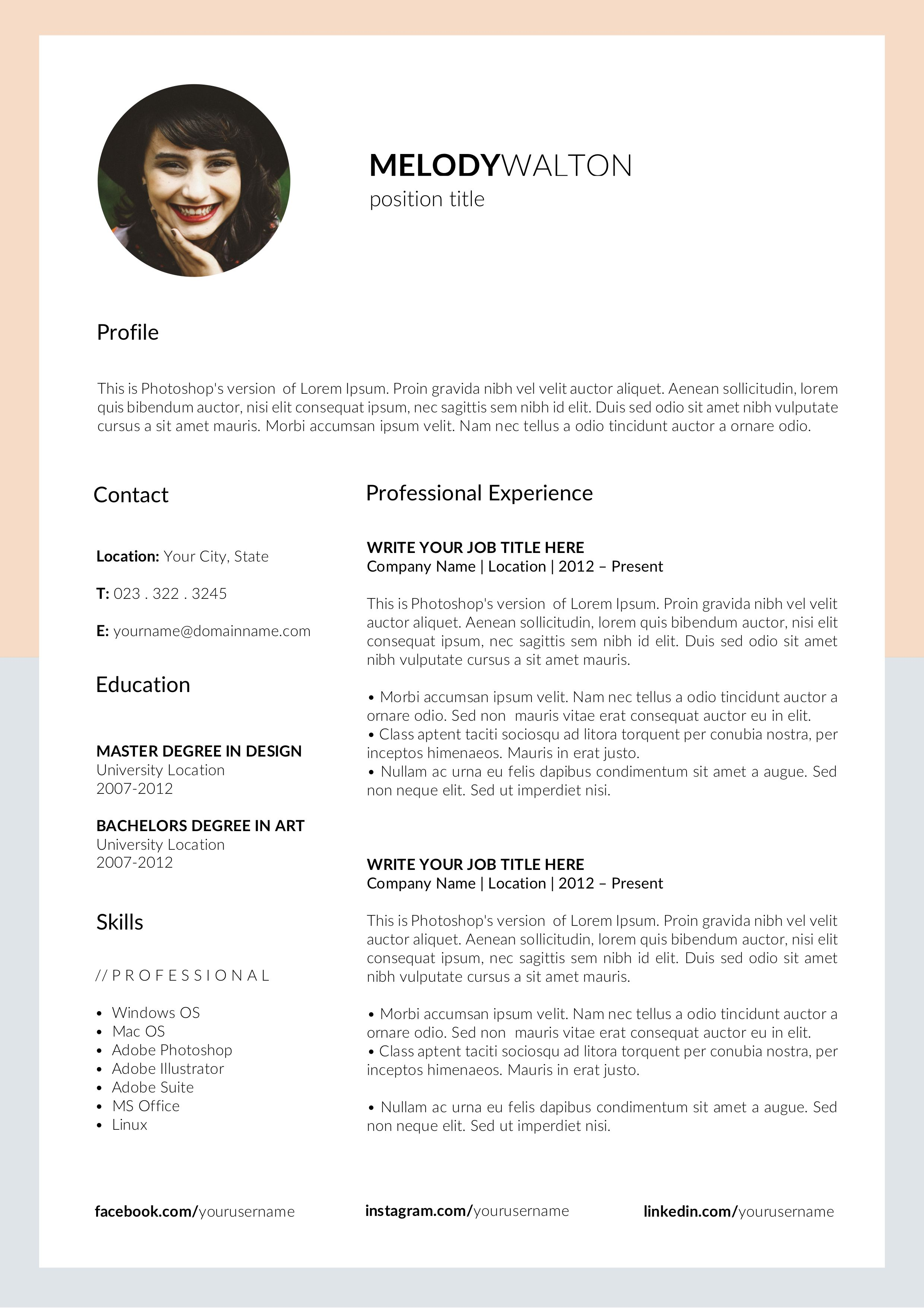 CV with Photo. CV Template. Resume with Photo. CV Design. Resume ...