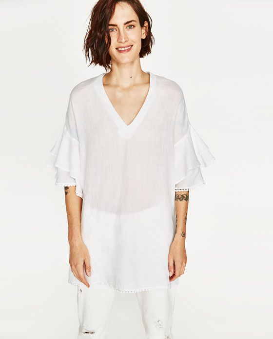eb2bcc2e502 Image 2 of LINEN TUNIC WITH FRILLS from Zara   SUMMER 2018   Linen ...