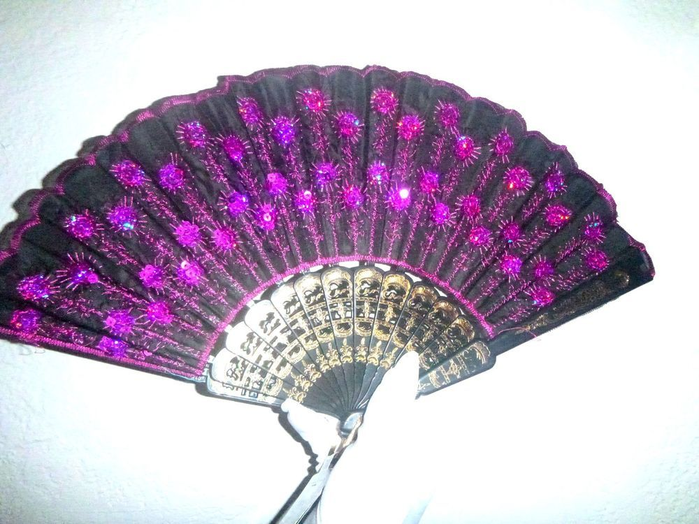 """FOLDED FAN HALLOWEEN COSTUME OR PARTY 9"""" X 17"""" BRAND NEW BLACK  HOT PINK"""