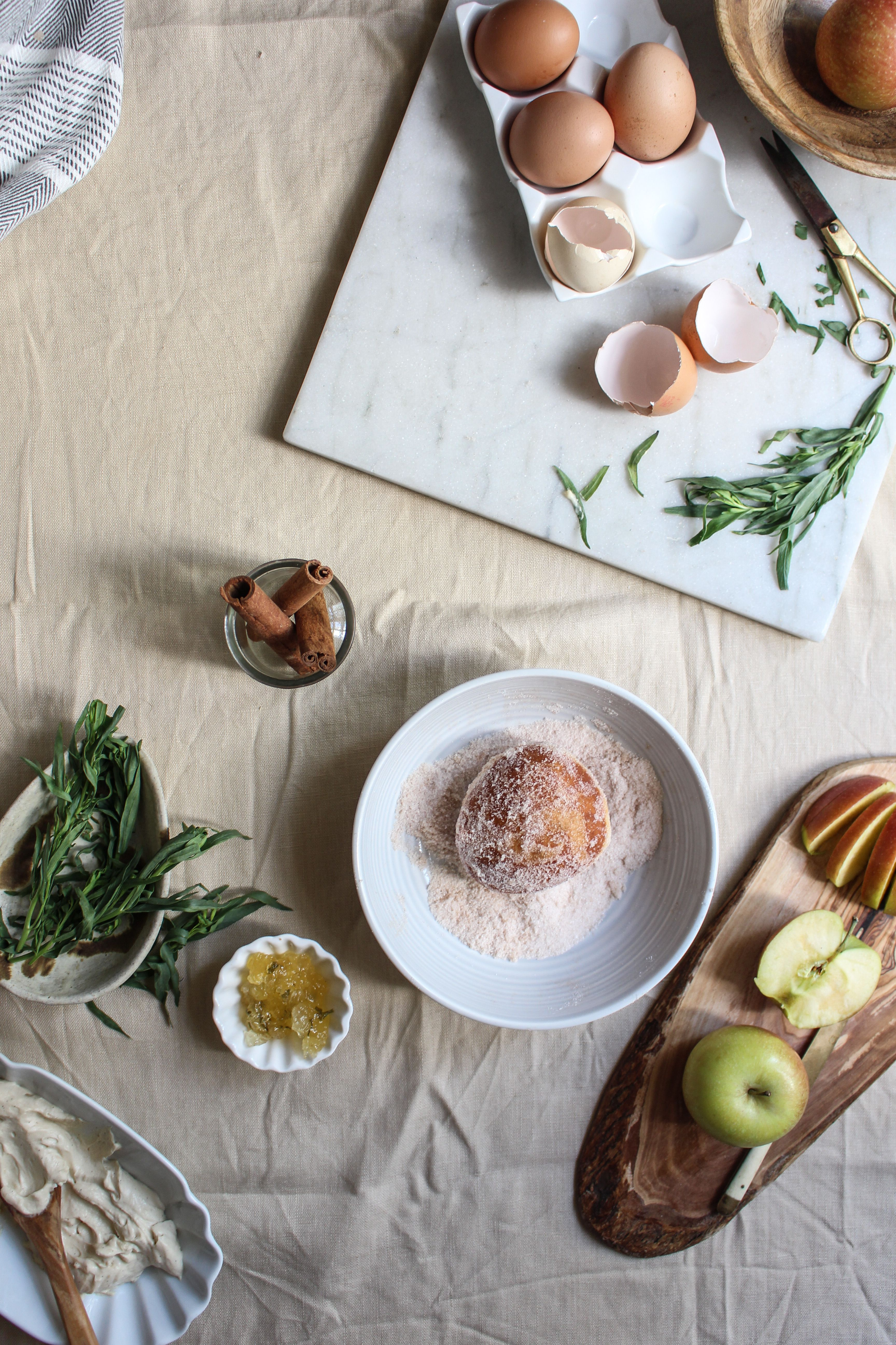 Doughnuts with apple tarragon compote and brown sugar pastry cream.