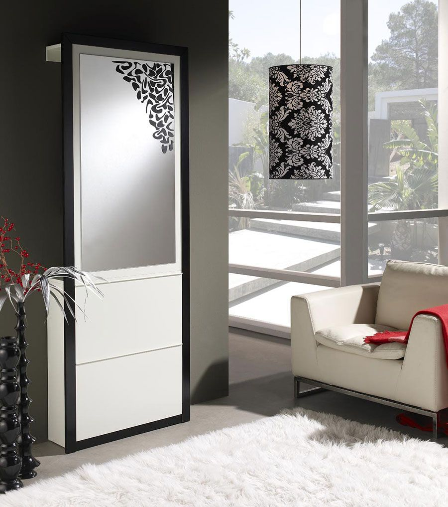 meuble d 39 entr e design avec miroir et meuble chaussures. Black Bedroom Furniture Sets. Home Design Ideas