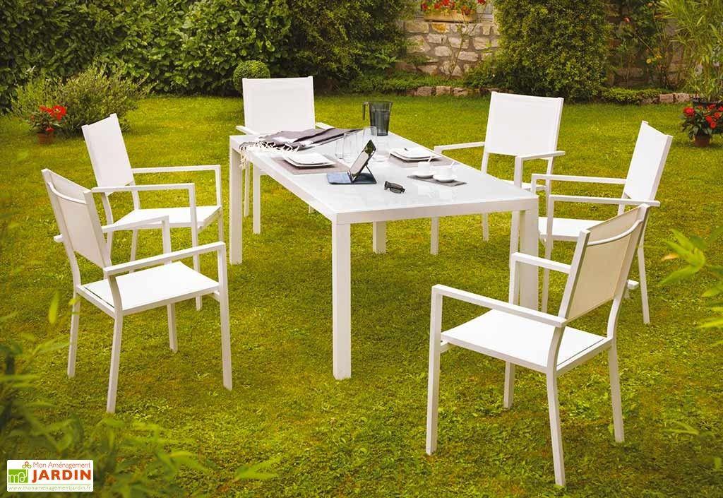 Salon de Jardin Aluminium Verre Blanc 6 Places Botticelli | MOBILIER ...