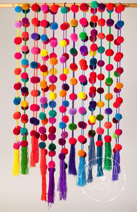 Photo of Pom pom garland – pom poms / solid color pompom garland / mexican pom pom garland in solid bright colors / home decor / party decor