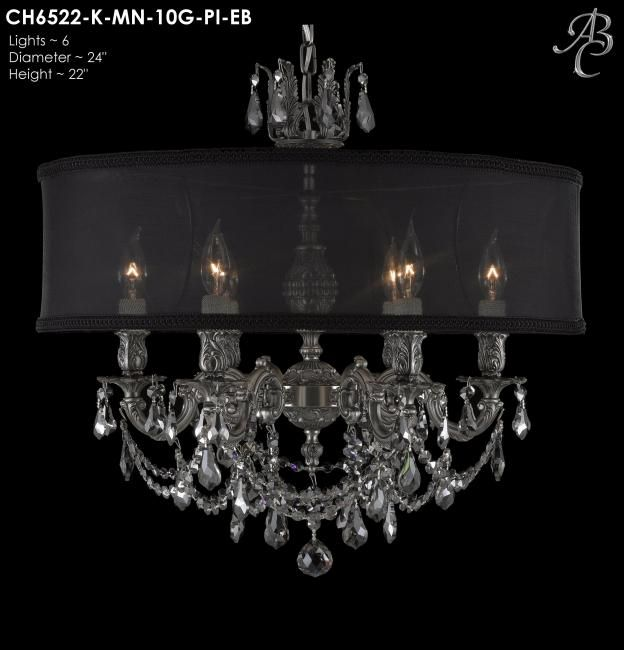 "ABC CH6522-K-MN-10G-PI-EB Llydia Collection Chandeliers Lites: 6 Diameter: 24"" Body Length: 22"" Finish: 10G ~ Antique Silver Crystal Package: Precision Effects Chiello Midnight"