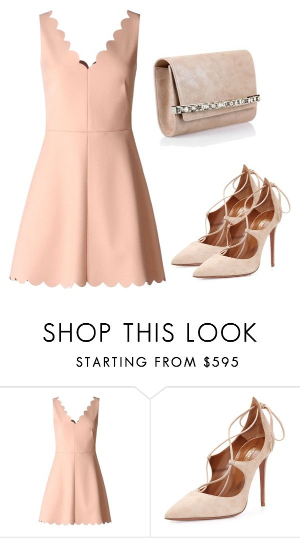 """Sem título #3049"" by beatrizvilar ❤ liked on Polyvore featuring RED Valentino, Aquazzura and Jimmy Choo"