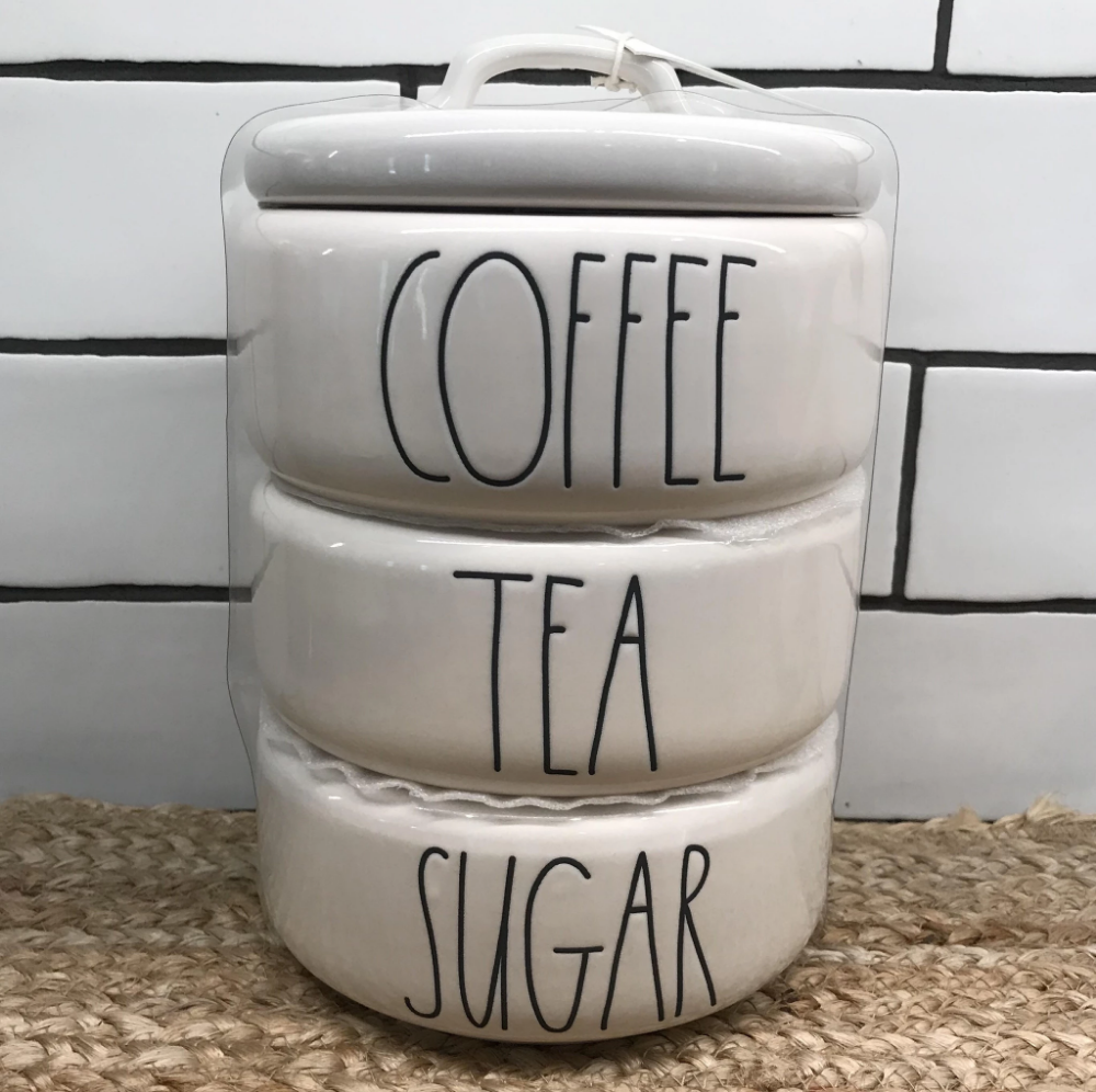 New Rae Dunn COFFEE, TEA, SUGAR Stacked Canister (With