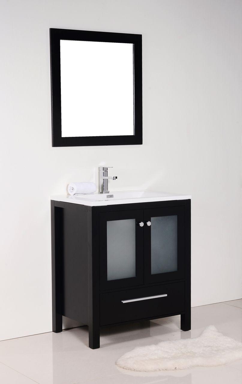 Brezza 30 Espresso Modern Bathroom Vanity W Frosted Glass Doors Modern Bathroom Vanity Bathroom Vanity Modern Bathroom