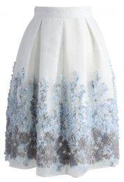Lavender Paradise Organza Pleated Skirt