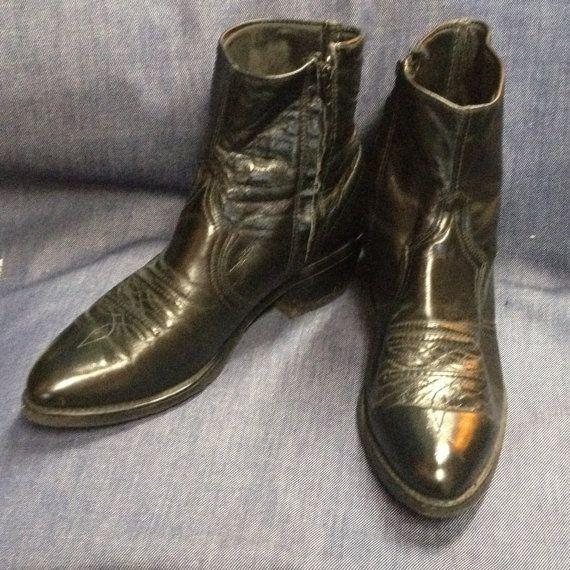 e7341b99bc40 60s   70s black leather ankle cowboy boots mens size 9 by antique ...
