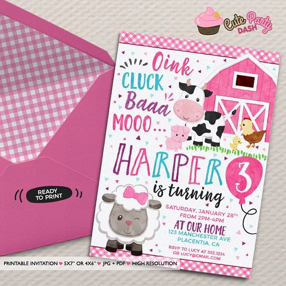 Girls Barnyard Birthday Photo invitation DIY girly Farm Animals printable invite pink Barnyard