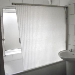 Fold Away Shower Screen Over Bath Folding Curtain White Brushed