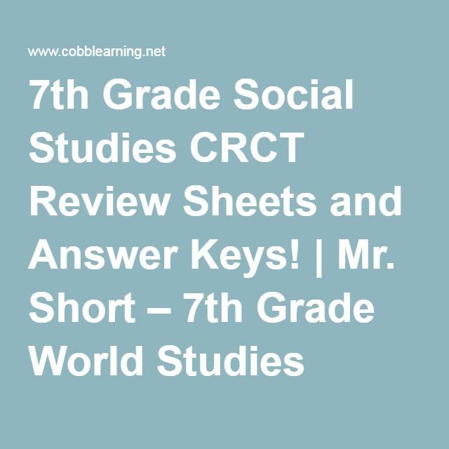 7th Grade Social Studies CRCT Review Sheets And Answer Keys