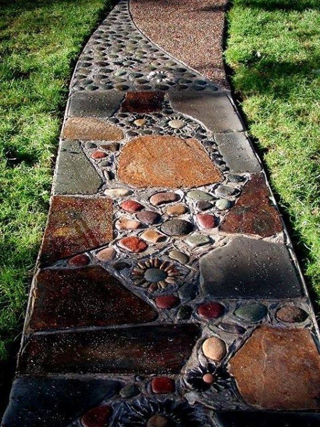 Photo of Brown Pebble Mosaic Tile Art Plaque River Rock Way DIY Garden walkway …