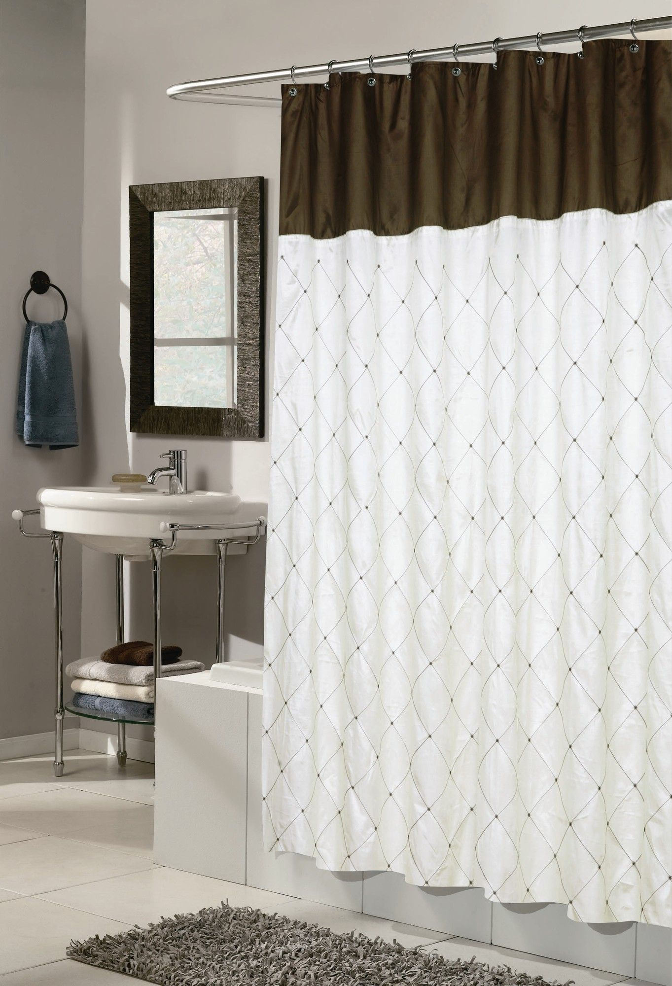 Carnation Home Fashions Diamond Patterned Embroided Polyester Shower Curtain