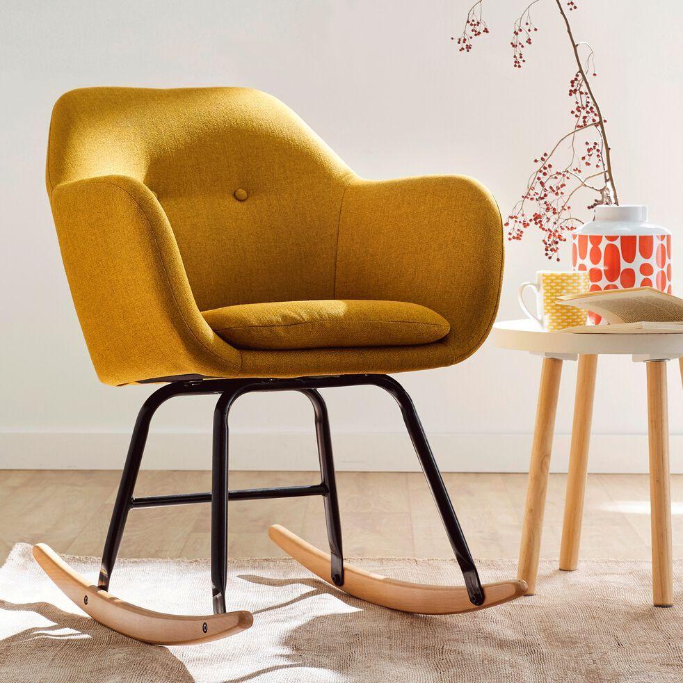 fauteuil à bascule en tissu  jaune moutarde  emilia