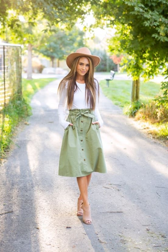 Fall Button Up Midi Skirt #casualskirts