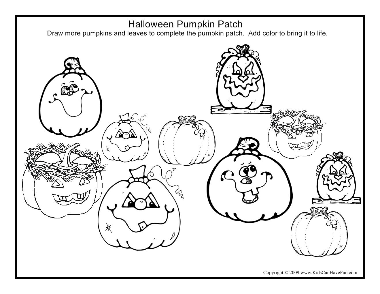 Pumpkin Patch Drawing Page Halloween Activities Halloween
