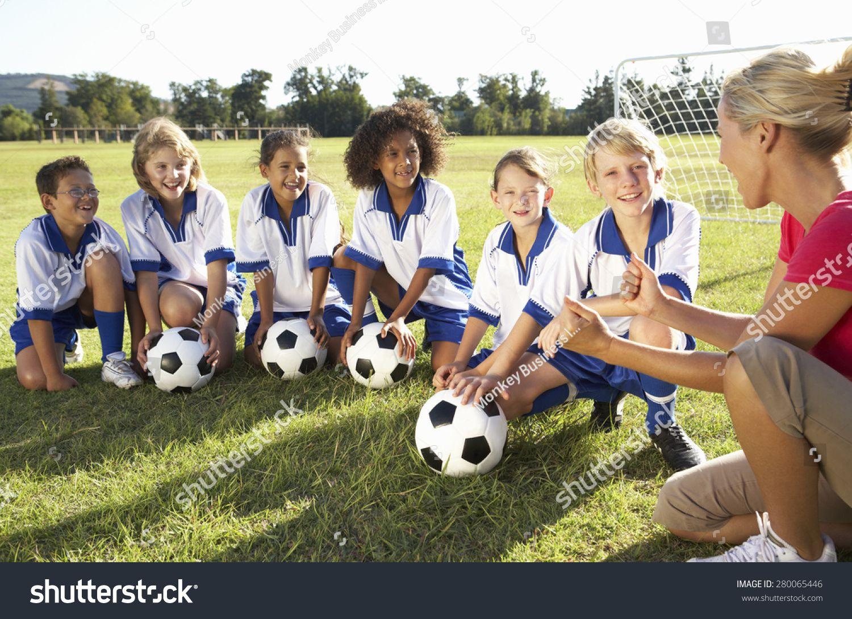 Group Children Soccer Team Having Training Stock Photo