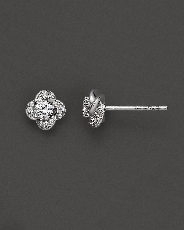 Jewelry Themed Earrings 14K White Gold Medium Flower and Jacket Diamond Post Earrings