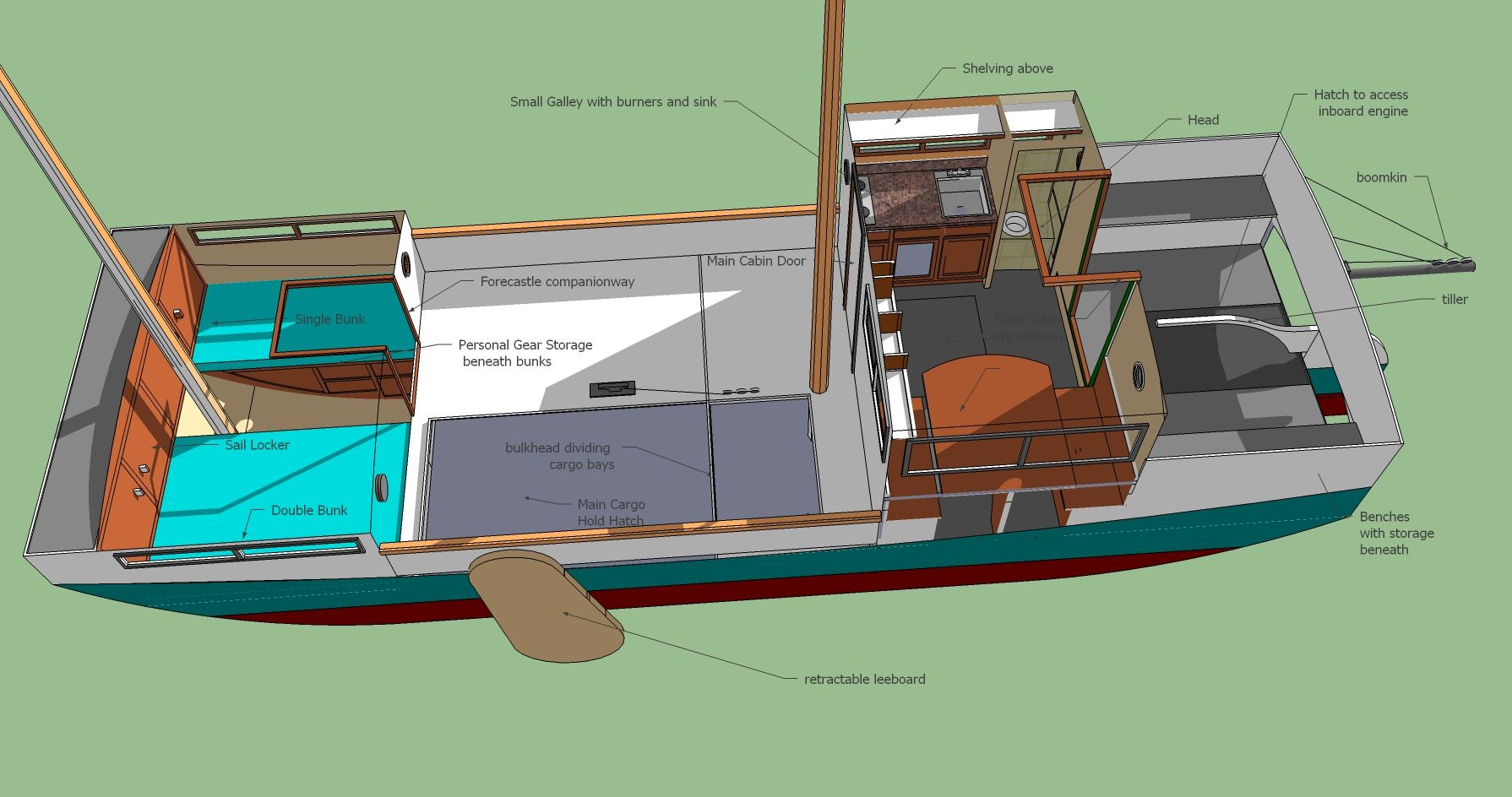 Image result for Free Boat Blueprints | Barges, Scows, and Garvys | Shanty boat, Boat plans ...