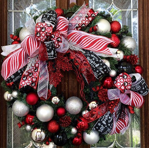 Red Black Silver And White Christmas Wreath 24 Inches Christmas Wreaths Red Christmas Decor Silver Christmas Tree