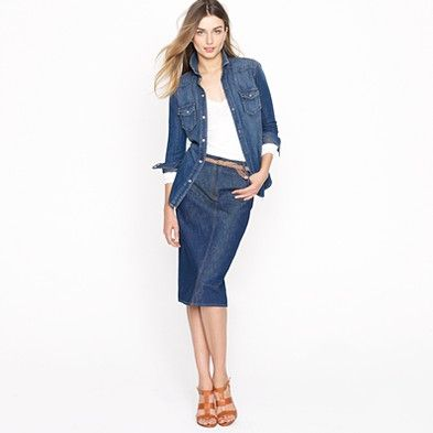 2f95d41679 Trudy peacoat | Fashion I can afford | Denim pencil skirt, Denim ...