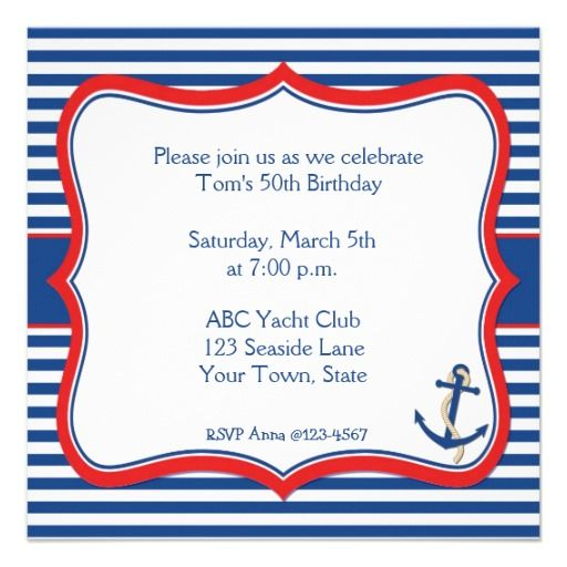 Nautical Stripes Invitation | Sailor baby showers, Sailor ...