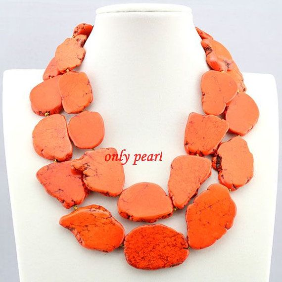Orange Turquoise Large Double Strand Bold Necklace Two Strands18-20inch Chunky Necklace Statement Turquoise Necklace - FN131