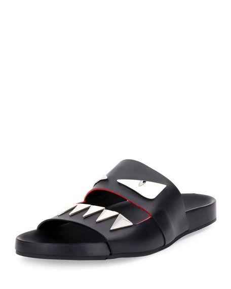 f4fdbf86e Monster Metal Teeth Double-Strap Slide, Black Leather Flip Flops, Black  Sandals,
