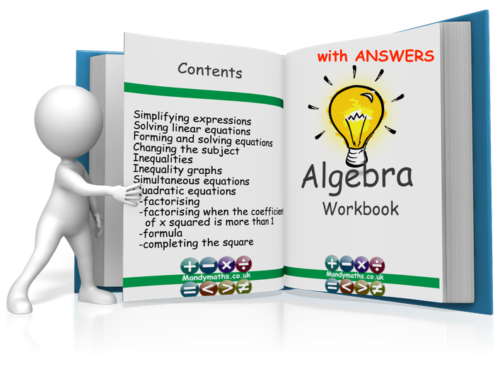 Algebra 14 page Workbook GCSE (with Full Solutions