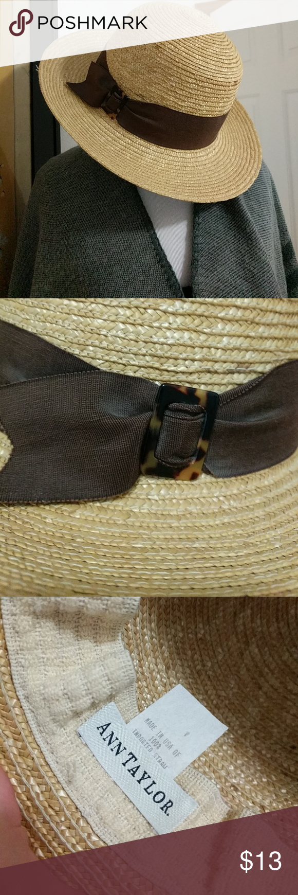 0efcd1d6750d7 Vintage Ann Taylor summer hat Excellent condition straw hat with brown  Ribbon and tortoise shell clasp