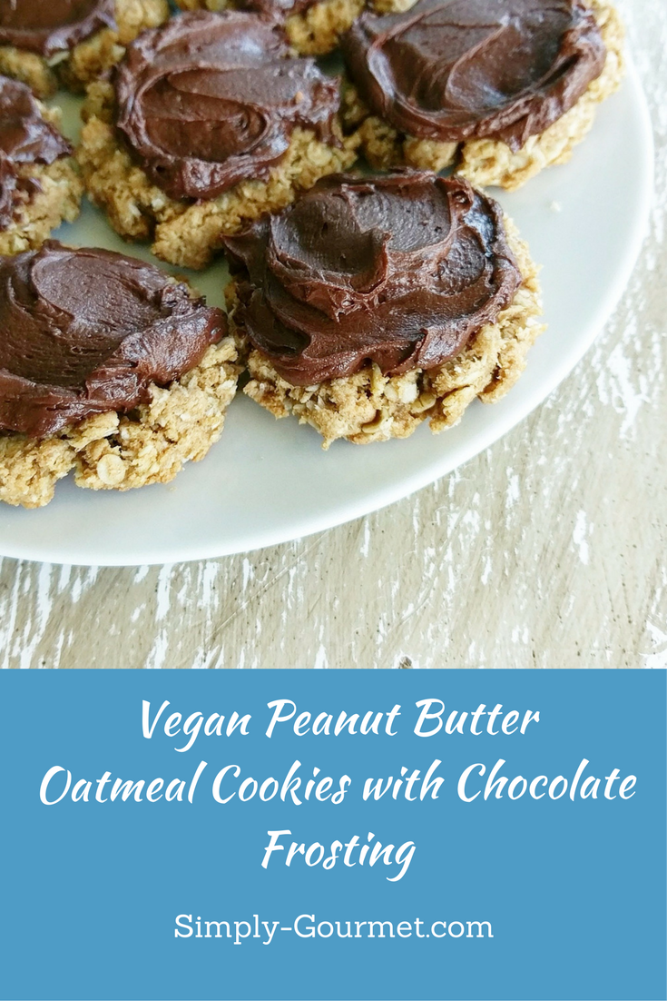Peanut Butter Oatmeal Cookies with Chocolate Frosting (dairy-free,egg free)