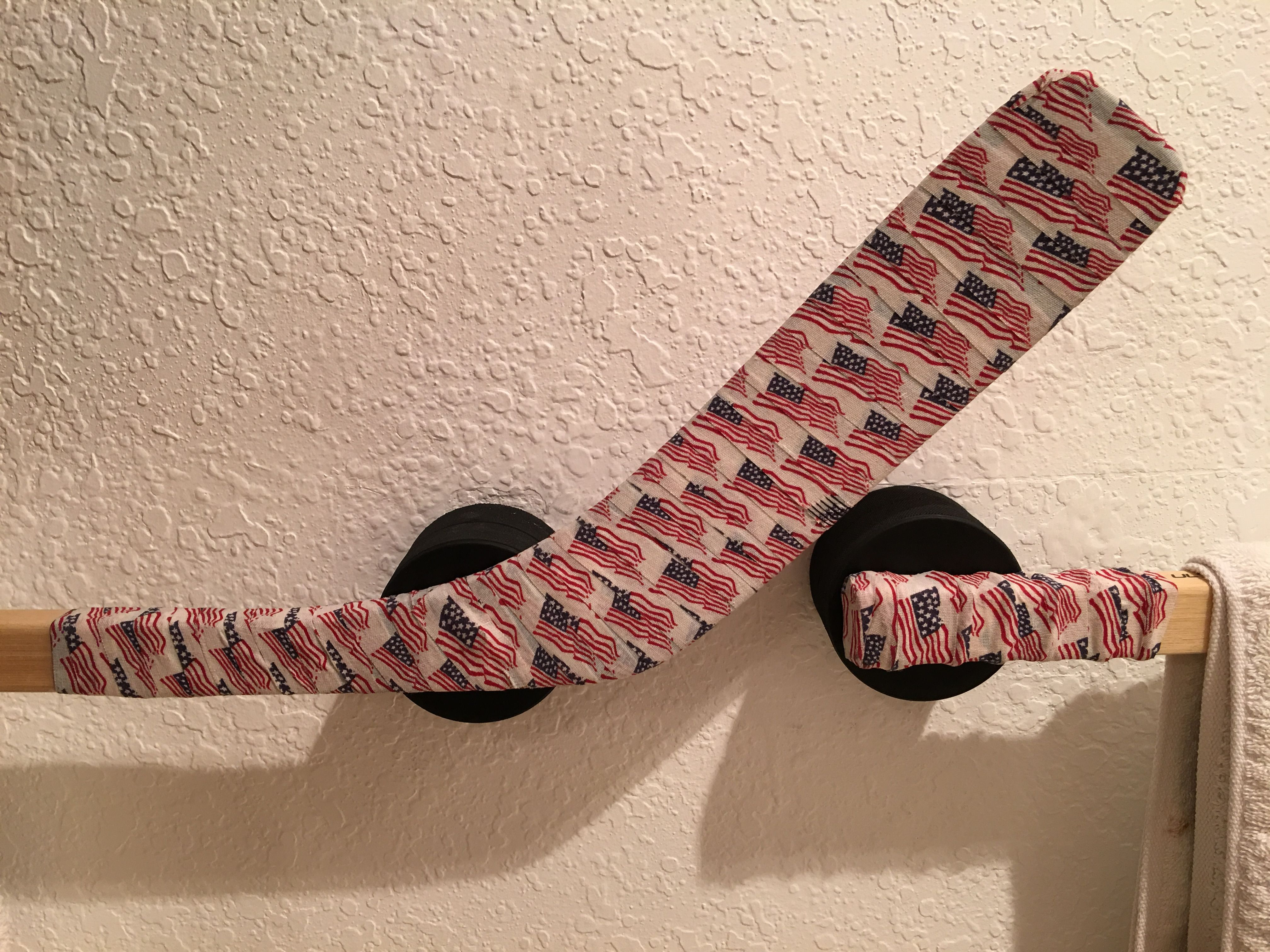 repurposed hockey sticks and pucks for