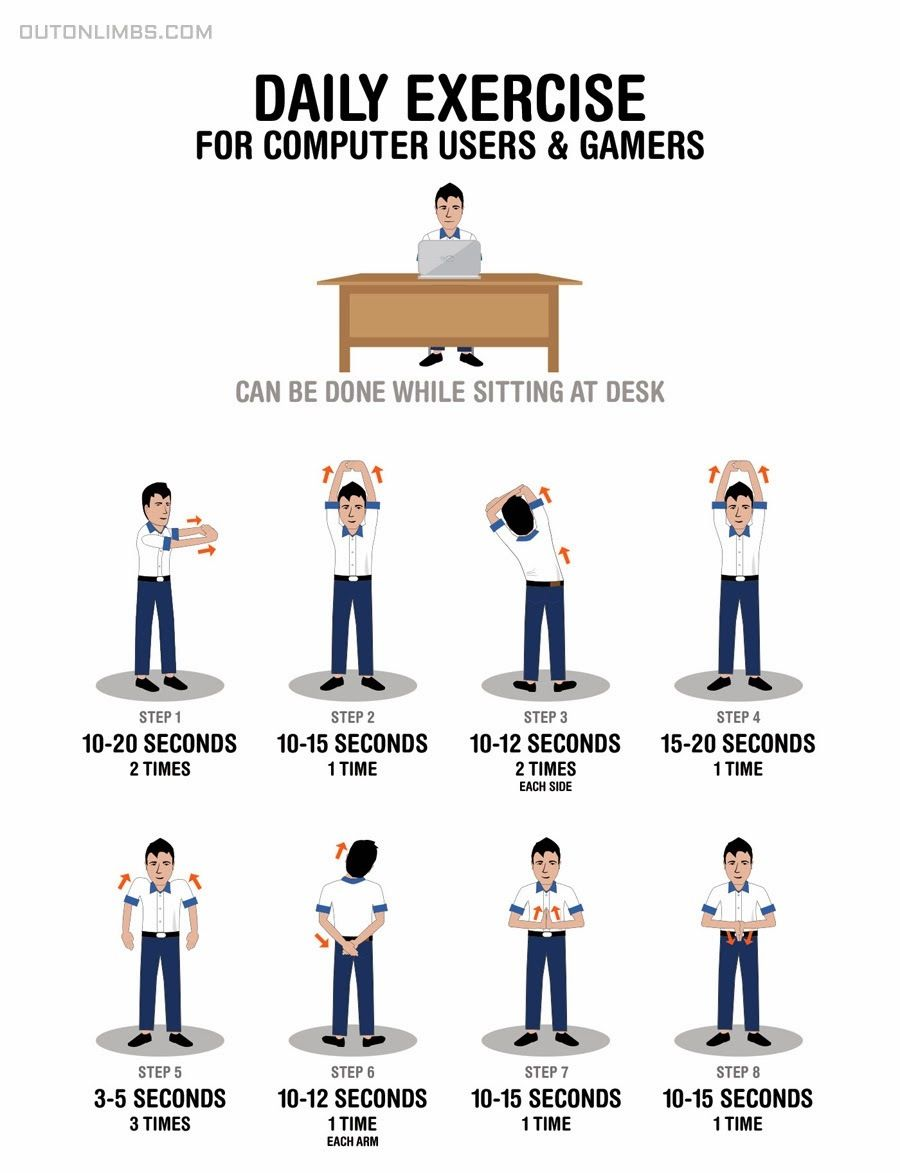 daily stretching exercises for computer users and gamers. | office