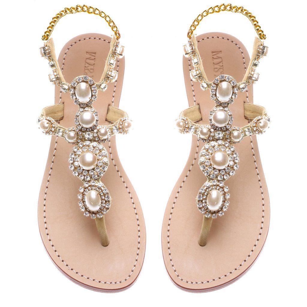 cb436b266076fb Algarve- Women s Gold Pearl Beach Wedding Sandal
