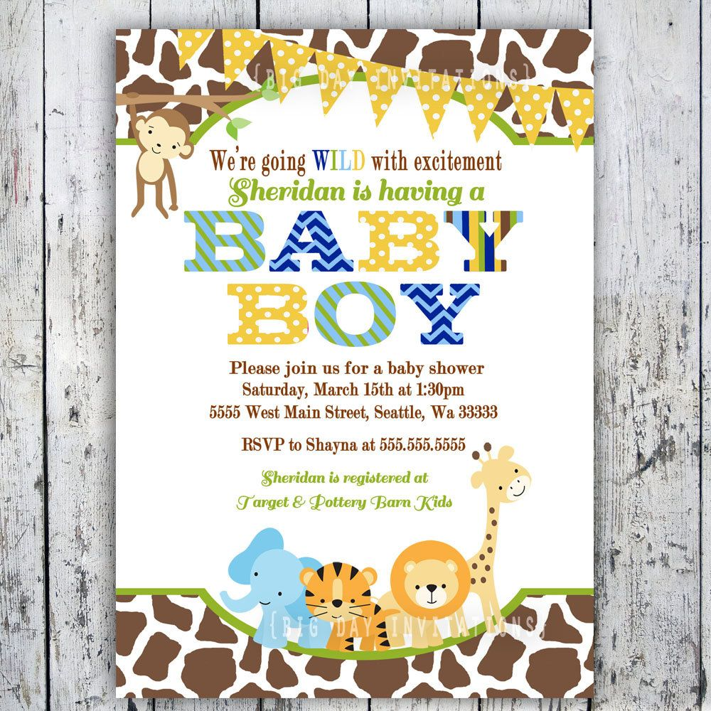 safari baby shower invitations jungle animal theme printable invite for boy or girl birthday
