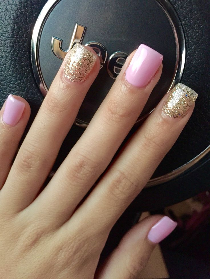 Nice Light Pink And Gold Glitter Nails