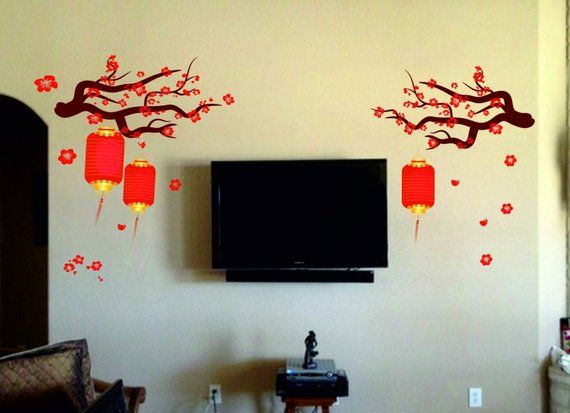 chinese lamp wall decal kit - reusable vinyl fabric - repositionable