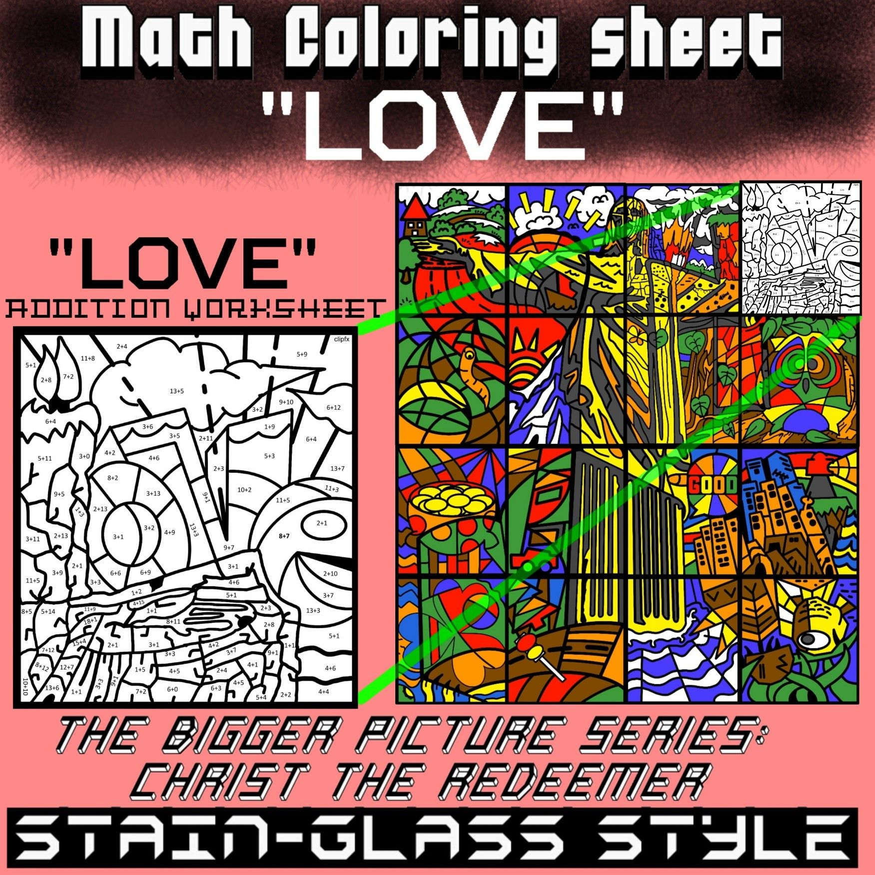 Math Colouring Worksheet Addition Love