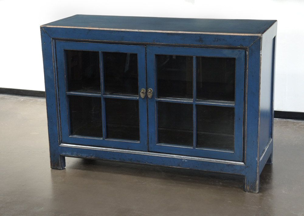 Small Sideboard Cabinet With Glass Doors And Blue Finish By Terra